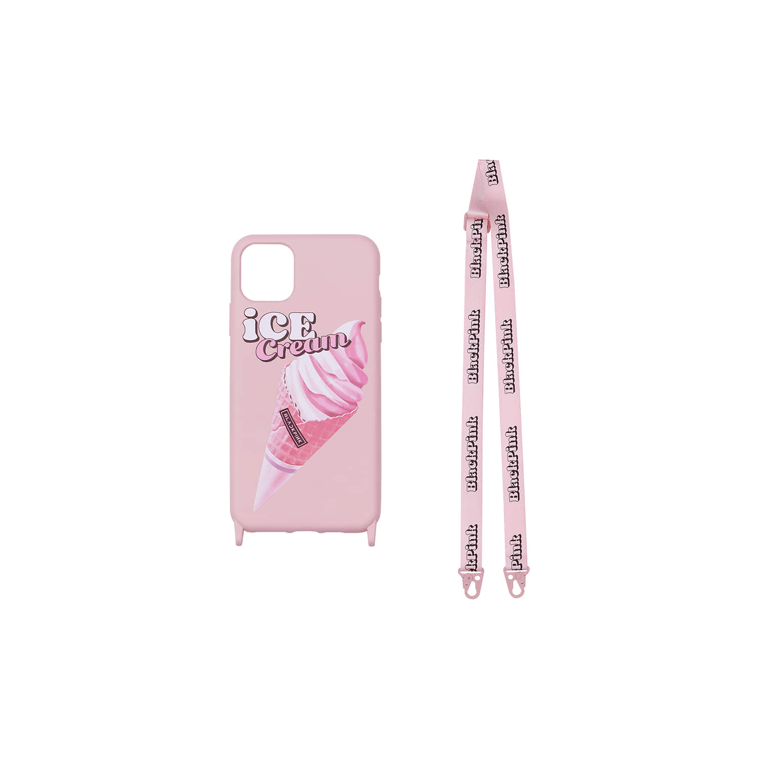 [ICECREAM] BLACKPINK LANYARD PHONECASE_ICECREAM CONE_PINK