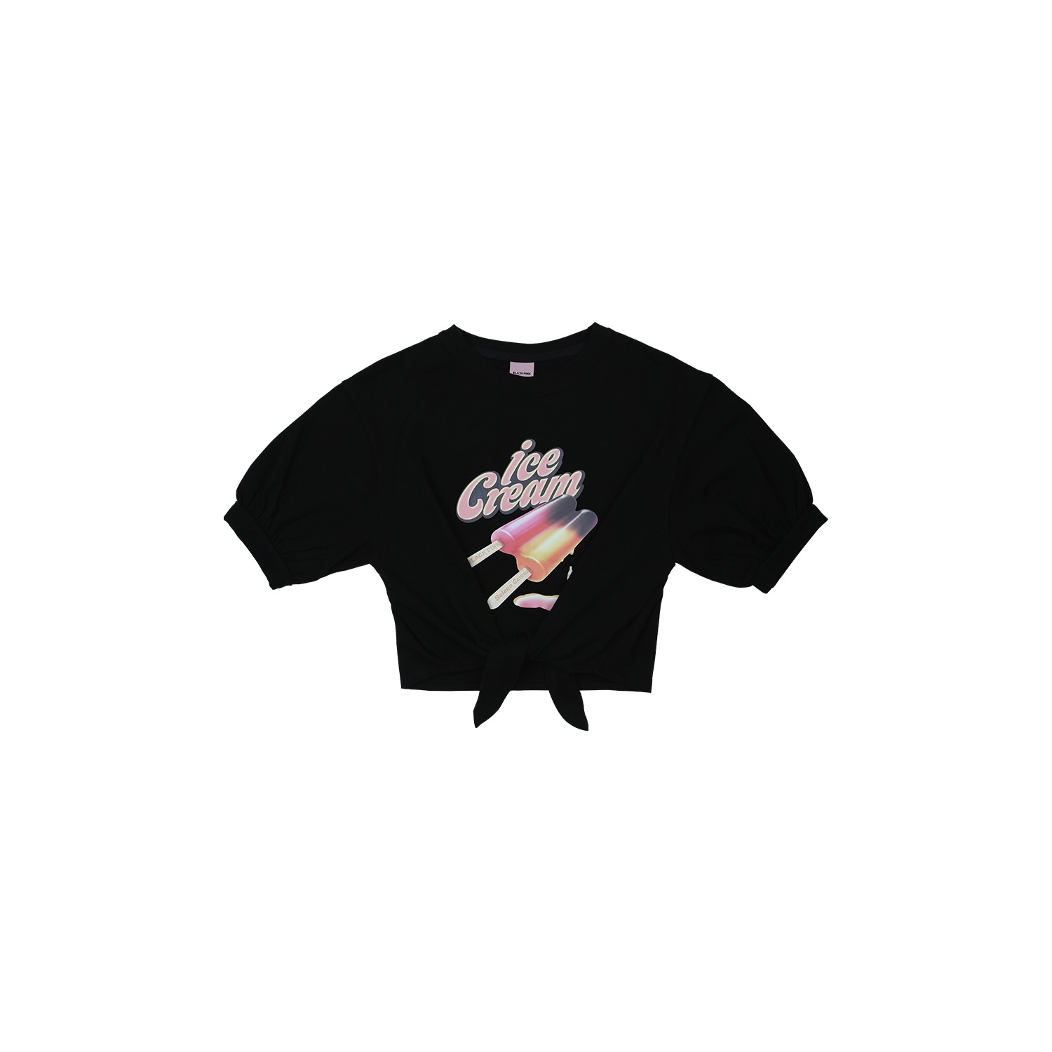 [ICECREAM] BLACKPINK T-SHIRTS_TIE-UP_ICECREAM BAR_BLACK