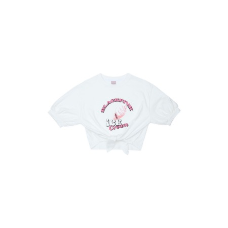 [ICECREAM] BLACKPINK T-SHIRTS_TIE-UP_ICECREAM CONE_WHITE